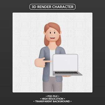 노트북을 가리키는 3d 렌더링 여성 캐릭터