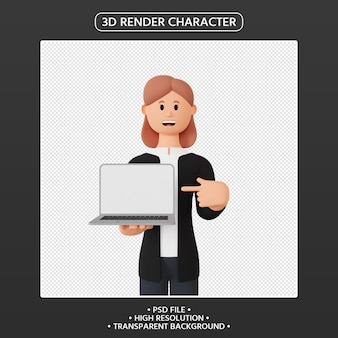 3d render female character pointing up laptop