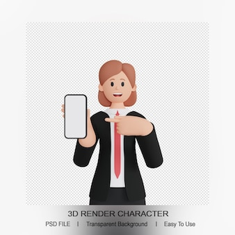 3d render of female character pointing up smartphone