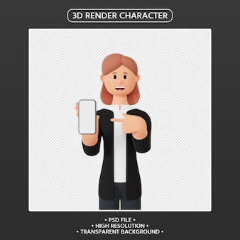 3d render female character pointing up smartphone