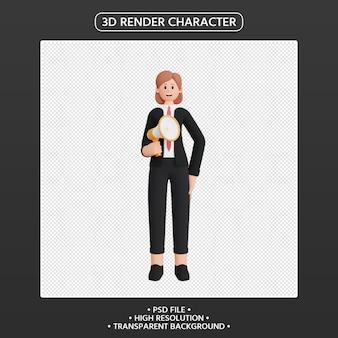 3d визуализация женского персонажа, говорящего в мегафон