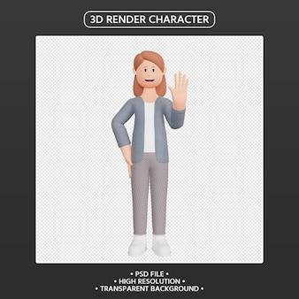 3d 렌더링 여성 캐릭터 흔들며