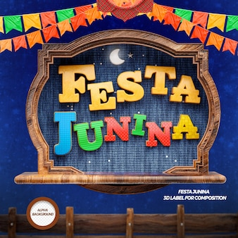 3d render festa junina with flags and fence
