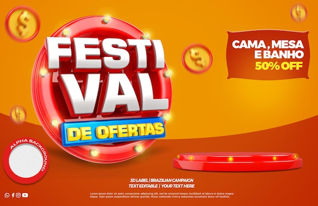 3d render festival offer with podium in portuguese