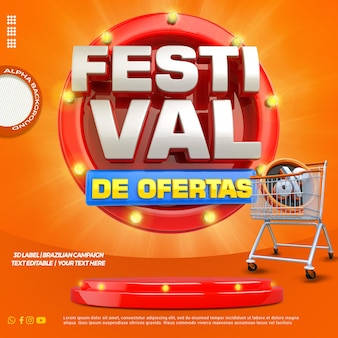 ポルトガル語でショッピングカートと表彰台を備えた3dレンダリングフェスティバルのオファー