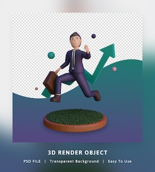 3d render of financial growing up infographics illustration with statistic and character