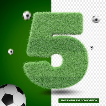 3d render five in grass for sports composition