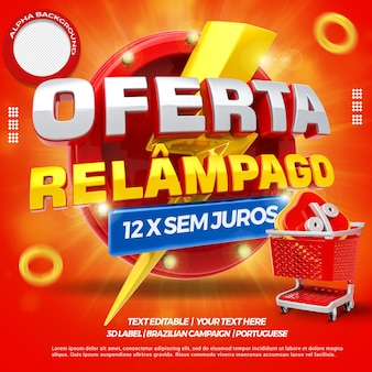 3d render flash offer with shopping cart campaign in brazil