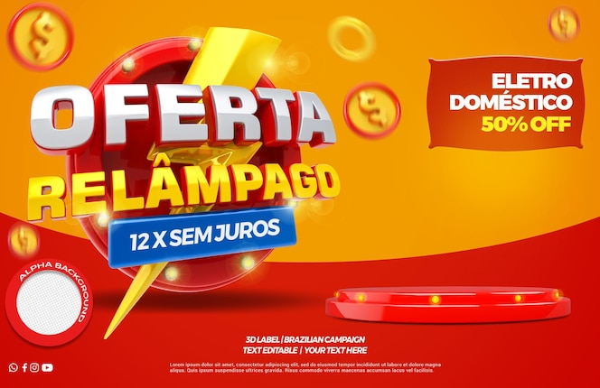3d render flash offer with shopping cart and podium campaign in brazil