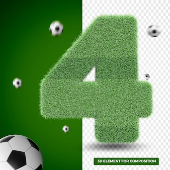 3d render four in grass for sports composition