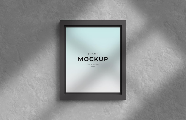 3d render frame photo mockup with shadow on the wall