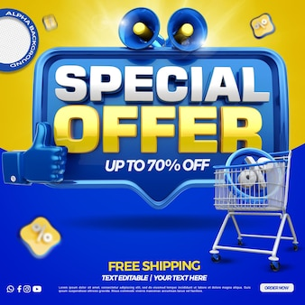 3d render front blue special offer with megaphone and shopping cart