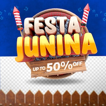 3d render front  festa junina with cloth and fireworks