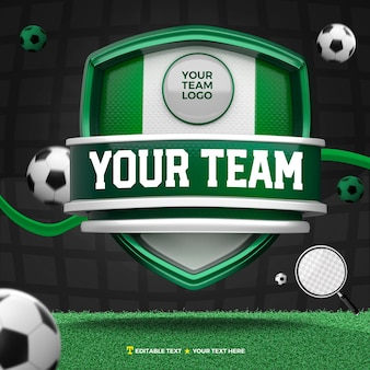 3d render front of green and white sports and tournament shield