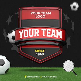 줄무늬와 축구장과 빨간색 검은 색 스포츠와 토너먼트의 3d 렌더링 앞