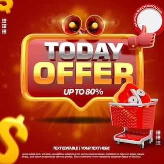 3d render front red today offer with megaphone and shopping cart