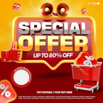 3d render front special offer with megaphone and like shopping cart rendering