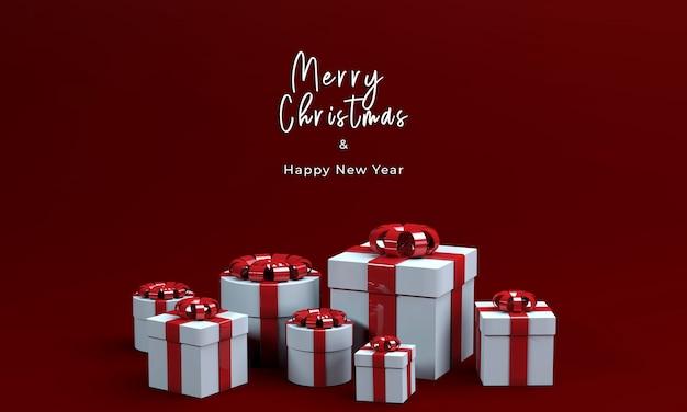 3d визуализация подарочная коробка для счастливого рождества