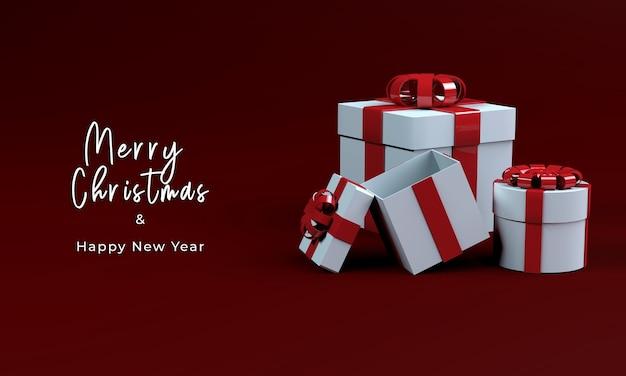 메리 크리스마스를위한 3d 렌더링 선물 상자
