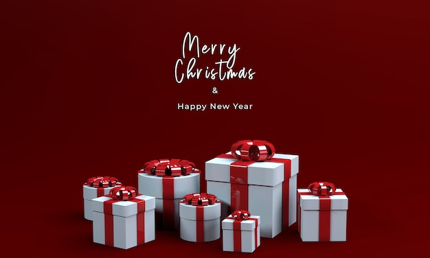 3d render gift box for merry christmas