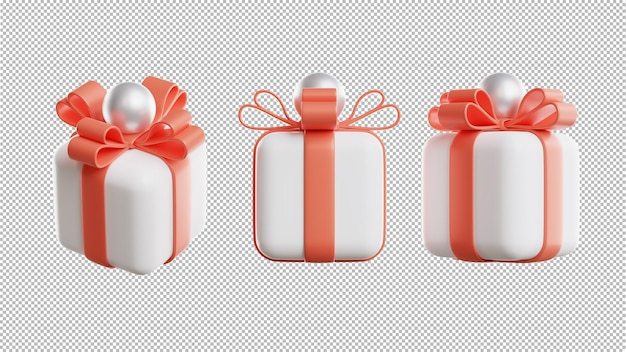 3d render of gift box with transparent background for product display