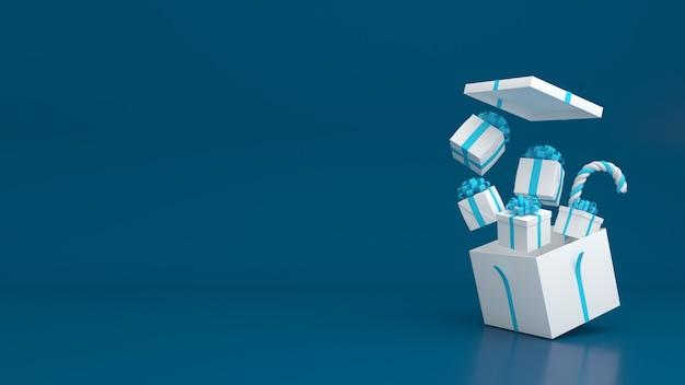 3d визуализация подарочной коробки пастельных тонов с рождеством и новым годом, макет