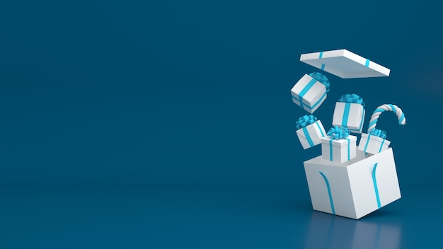 3d render giftbox pastel color merry christmas and happy new year mockup