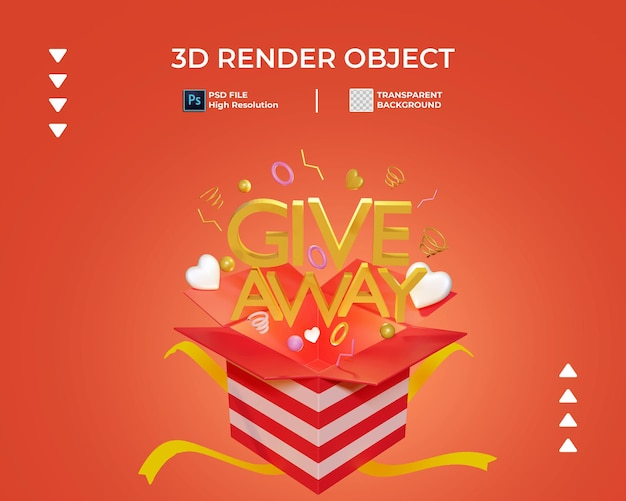 3d render of give away icon isolated