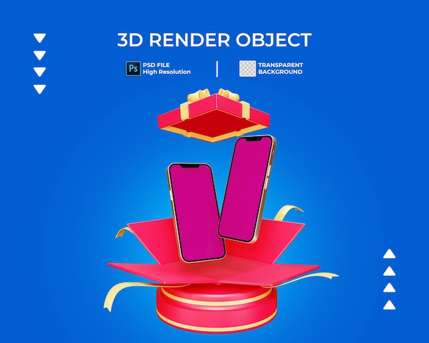 3d render of giveaway box with phone