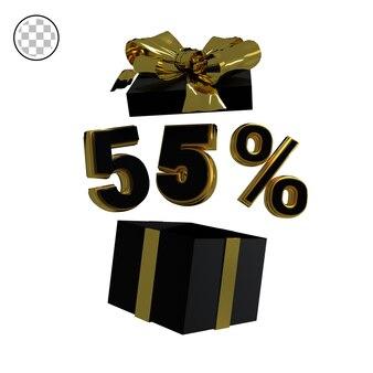 3dレンダリングゴールド55パーセント