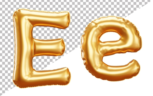 3d render gold letter foil balloon alphabet e upper case and lower case