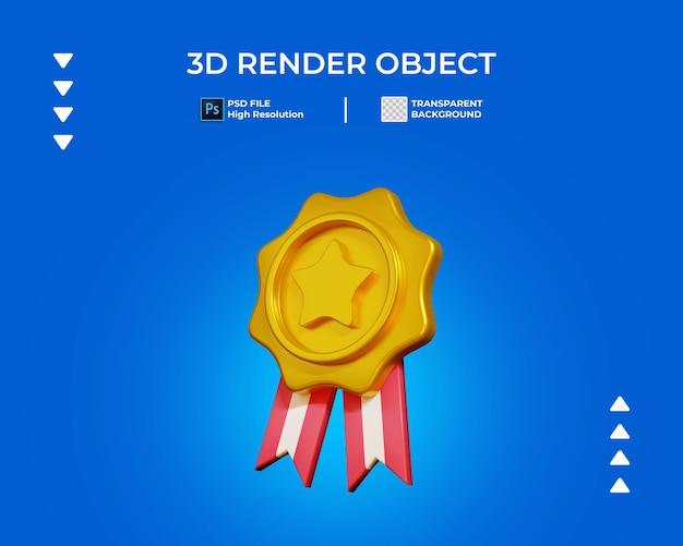 3d render of gold medal icon isolated