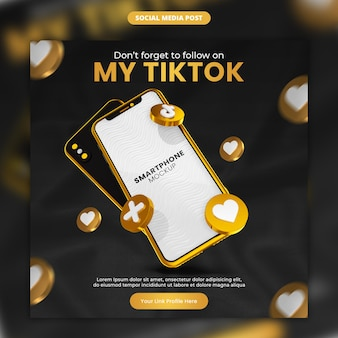 3d render gold tiktok icon and smartphone social media and instagram post template