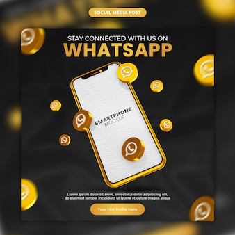 3d render gold whatsapp icon and smartphone social media and instagram post template
