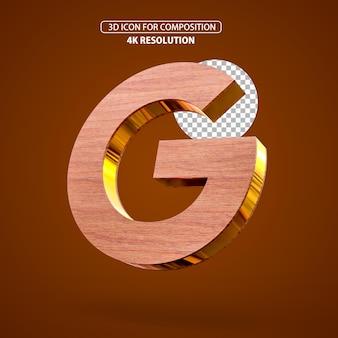 3d визуализация значок google деревянный и золотой разрешение 4k