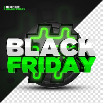 3d render green black friday label with led lights isoleted for composition