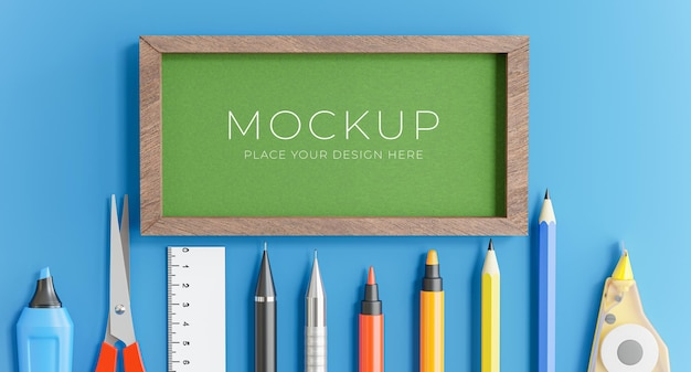 3d render of green board with back to school concept for your product display