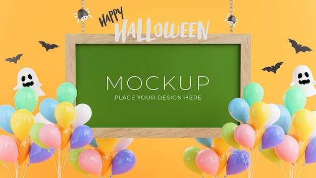3d render of green board with halloween concept for product display