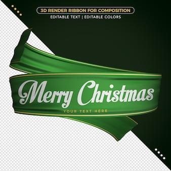 3d визуализация зеленой ленты с рождеством для композиции