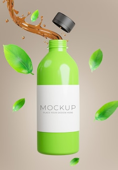 3d render of green tea bottle with splash for product display