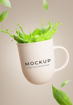3d render of green tea on mug with splash mockup