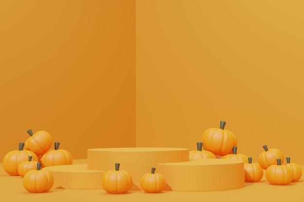 3d визуализация подиума хэллоуина с тыквой для демонстрации продукта