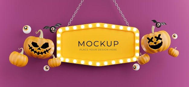 3d render of halloween sign board with pumpkin,eye,bat,light neon for product display