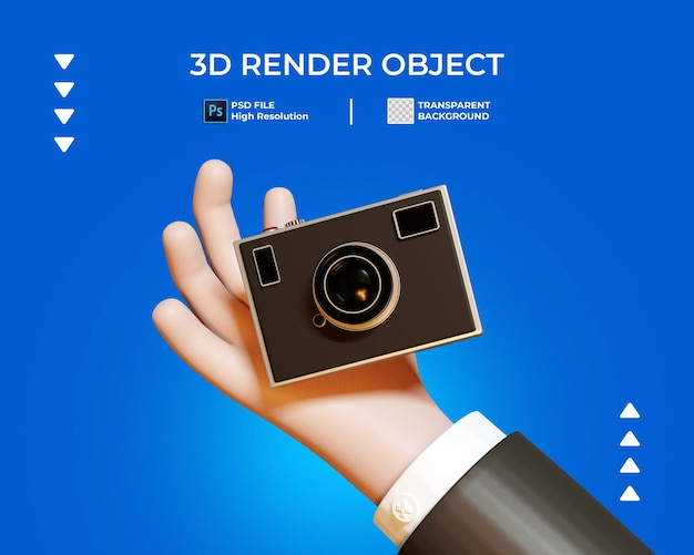 3d render of hand with camera icon isolated