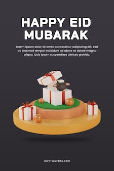 3d render happy eid al adha with sheep inside gift box on podium poster template