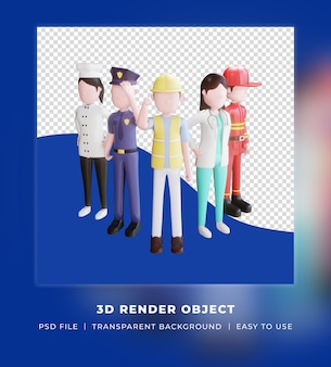 3d визуализация, счастливый день труда с 3d персонажами различных профессий, стоящих людей.