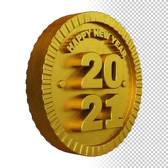 3d render of happy new year 2021 with golden bold circular badge isolated