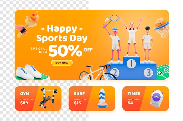 3d render happy sports day equipment sale concept banner