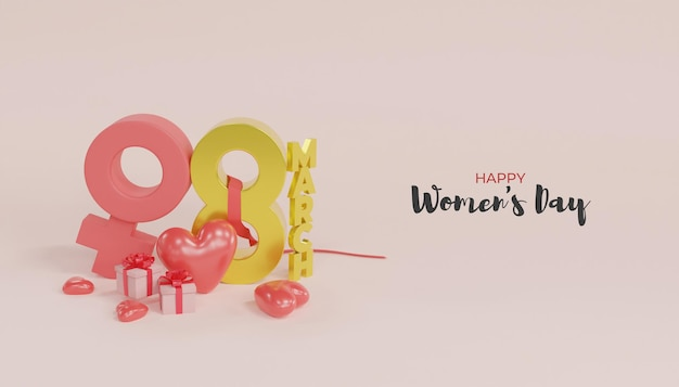 3d 렌더링 giftbox와 함께 행복 한 여성의 날 디자인