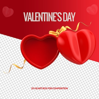 3d render heart shaped box for valentines day composition